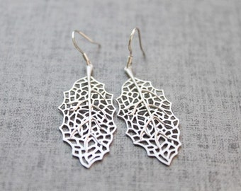 Skeleton Leaf sterling silver earwires - S1057