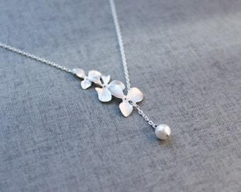 Orchid flowers chain  lariat  - S2025-1