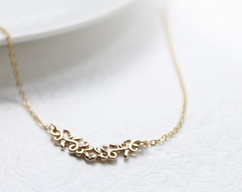 Simple filigree gold bar Necklace - S2145-1