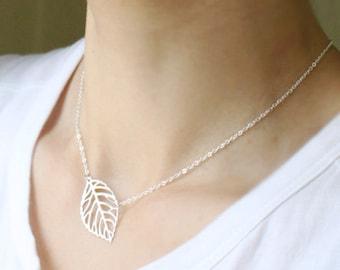Simple Skeleton Leaf Necklace - S2146-1