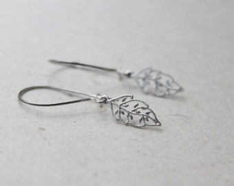 Simple skeleton leaf silver earwires -S1153