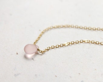 Simple light rose glass droplet Necklace - S2161