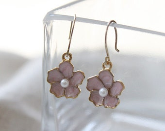 Dainty pink flower earrings - sterling silver ear wires - S1202