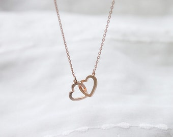 Cute twin Heart pink gold Necklace - S2211-1