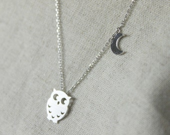 Owl with Moon Necklace - S2237-1