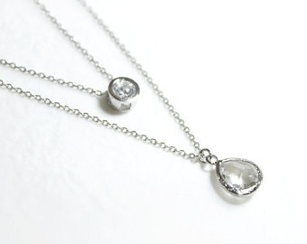 Clear crystal double layers chain Necklace - S2262-1