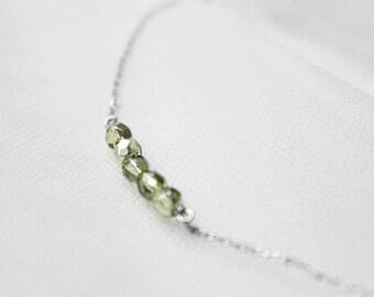 Avocado Green glass beaded bar Necklace - S2266-2