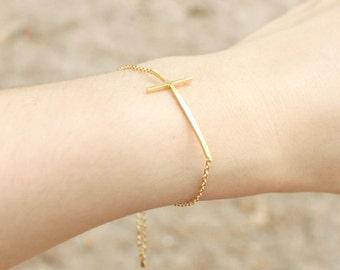 Sideways Cross Bracelet - S3268-1