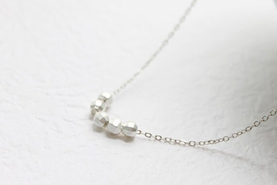 Simple faceted silver bead Necklace - S2117-1