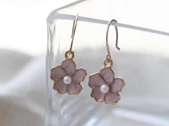 Dainty pink flower earrings - sterling silver ear wires - S1202