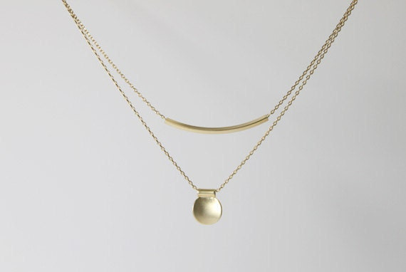 simple Tube & coin pendant double layers chain Necklace - S2230-1