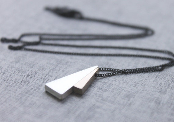 Two Triangle necklace on Black chain Necklace  - S2236 -1