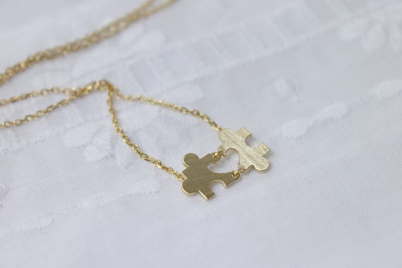 The Heart in the Puzzle Necklace- S2241-1