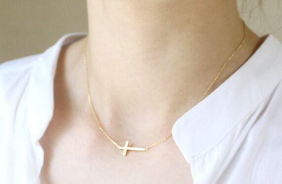 Sideways Cross Necklace - S2268-1