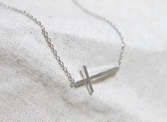 Sideways Cross Necklace - S2268-2
