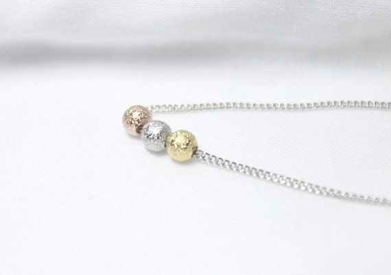 Tiny Three Color Balls Necklace - S2271-1