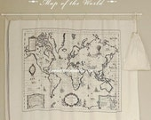 1 Yard Japanese Linen Cotton Blended Fabric - World Map