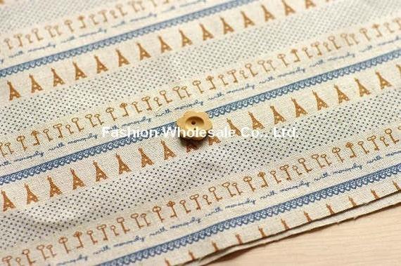 Half Yard - Japanese Linen Cotton Blended Fabric - Zakka Tower and Key