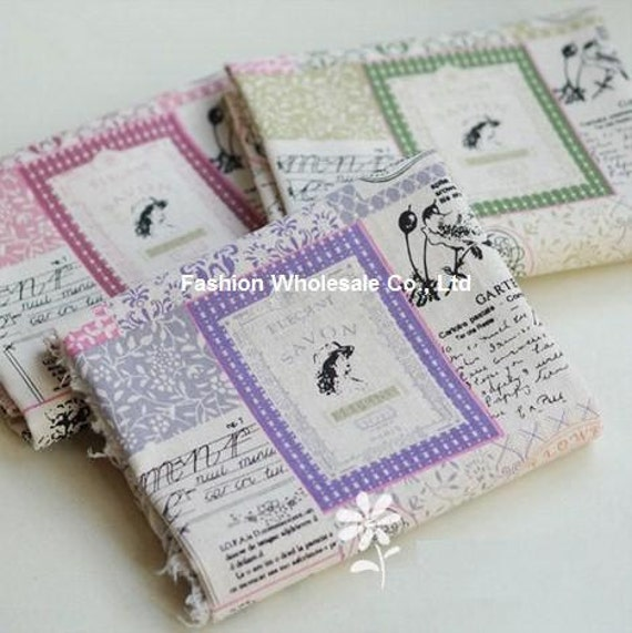 Set of 2 Japanese Linen Cotton Blended Fabric - Elegant Lady