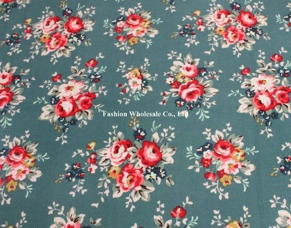 Half Yard - Japanese Waterproof Fabric / Oilcloth - Beautiful Flora on Green