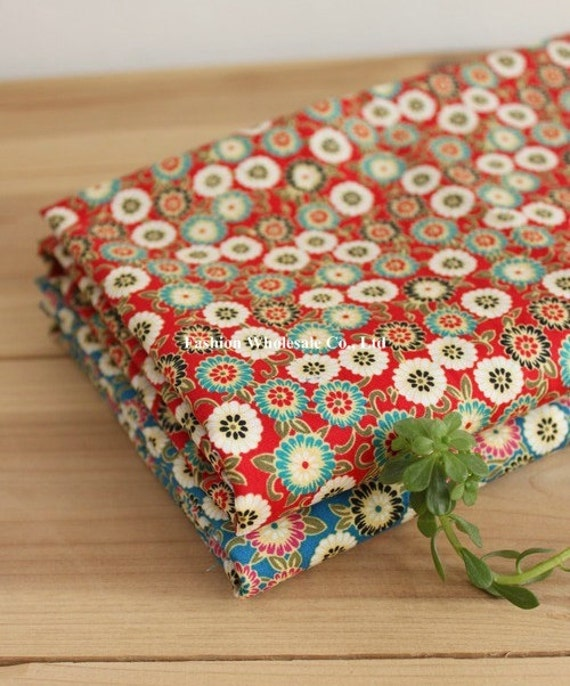Japanese Cotton Fabric - Daisy, Red