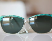 Vintage Wayfarer Sunglasses Turquoise Metallic/ Glitter/ Dark by Polaroid . Gift Certificates Apply