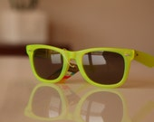 Vintage Wayfarer Sunglasses Neon Lime/ Chrome/ Golden Brown by Polaroid . Gift Certificates Apply