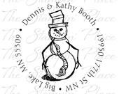 Custom Address Stamp - Snowman Circle Address PR185