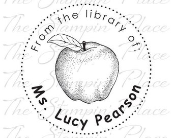 Personalized Custom Stamp - Library of/Apple PS213