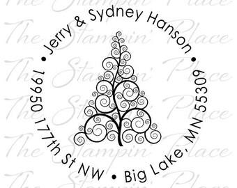 Custom Address Stamp - Swirl Tree Circle Address PR439