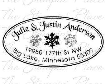 Custom Address Stamp - Snowflake Oval Address PR414