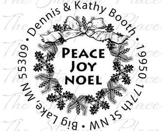 Custom Address Stamp - Wreath Circle Address PR132