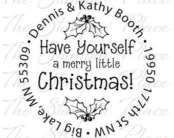 Custom Address Stamp - Merry Little Christmas Circle Address PR139