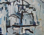 Istanbul Fog - original abstract acrylic painting on canvas - abstract cityscape