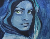 SALE - Yael - Original Painting, Portrait of a Blue Girl - original oil painting