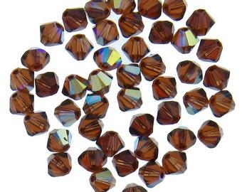 Swarovski 5328 4mm Smoked Topaz (220) AB Xilion Bicone Beads Wholesale price Bulk Quantity 1 Gross (2532) - Lowest CLEARANCE Price