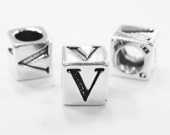 Alphabet Beads Sterling Silver 4mm Alphabet Blocks V - 1pc (3189)