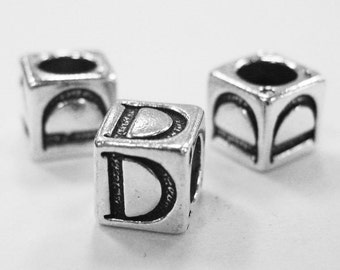 Alphabet Beads Sterling Silver 6mm Alphabet Blocks D- 1pc (3197)