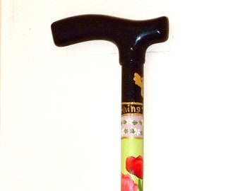 Walking Cane - Walking Stick - Fritz Handle - Hand Painted - Puzzle - Four Seasons