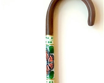 Walking Stick - Butterfly - Walking Cane  - Hand Painted - Crook Handle