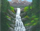 Waterfall Painting, American West, Alpine Cascade, a print of an original acrylic painting to fit an 8 by 10 frame