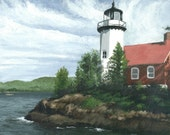 Michigan Lighthouse Painting - Seascape -  Michigan -  Eagle Harbor, a print of an original acrylic painting to fit an 11 x 14 frame