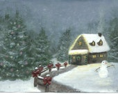 Christmas Cabin Painting - Holiday - Seasonal Cabin, a print of an original acrylic painting to fit 8X10 frame