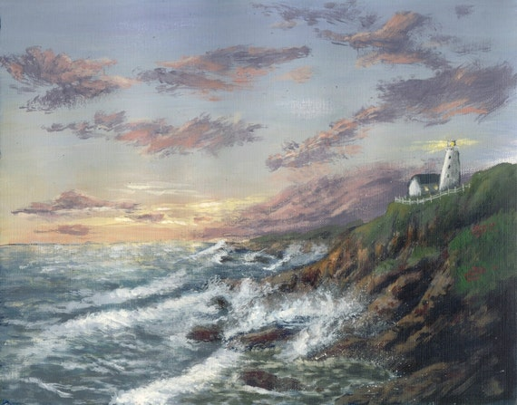 Lighthouse Painting, Last Light, a print of an original acrylic painting to fit 11x14 frame
