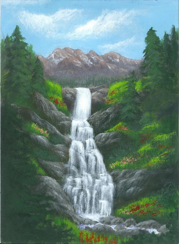 Waterfall Painting Landscape Art Alpine Cascade A Print Of