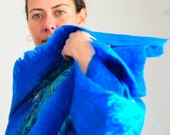 cosy and chic blue felt scarf / shawl- reserve for Riham