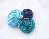 Satin Flower Hair Clip in Peacock Colors - Teal, Turquoise, Navy Blue Satin - flower girl, bridal party - Custom Colors Available