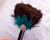 Sale - Turquoise and Brown Feather Headband with Rhinestone button