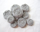 Paper Flowers - Dove Gray Paper Rosettes - Set of 15 NEW COLOR - Custom Colors Available - Silver Grey flowers