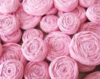 Pink paper flower roses - Set of 20